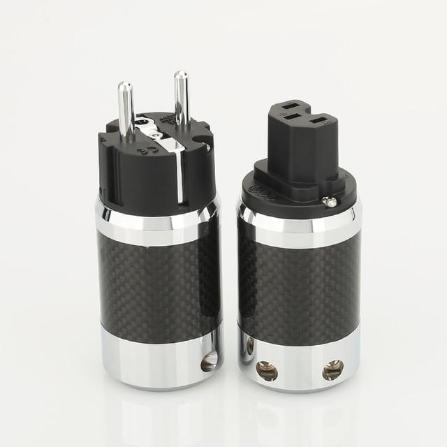 1 paar X Hoge Kwaliteit Hi End EU Schuko Rhodium Plated Carbon Fiber AC Power Plug Connector uitbreiding adapter