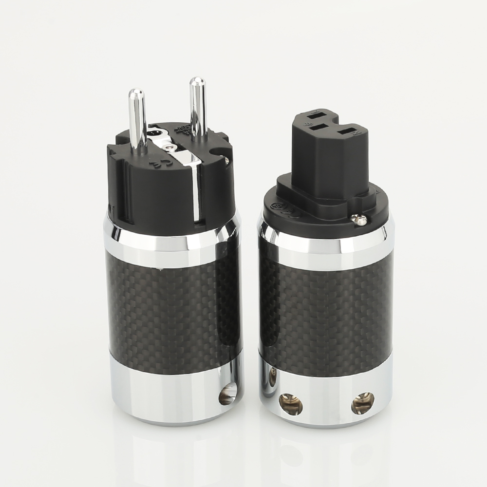 1pair X High Quality Hi-End EU Schuko  Rhodium Plated Carbon Fiber AC Power Plug  Connector  Extension Adapter