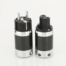 1pair X High Quality Hi End EU Schuko  Rhodium Plated Carbon Fiber AC Power Plug  Connector  extension adapter