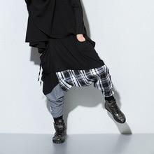 Zogaa мужские повседневные Драповые шаровары с заниженным шаговым швом, лоскутные клетчатые брюки в стиле хип-хоп, мешковатые штаны для танцев, готические штаны-шаровары в стиле панк, новинка