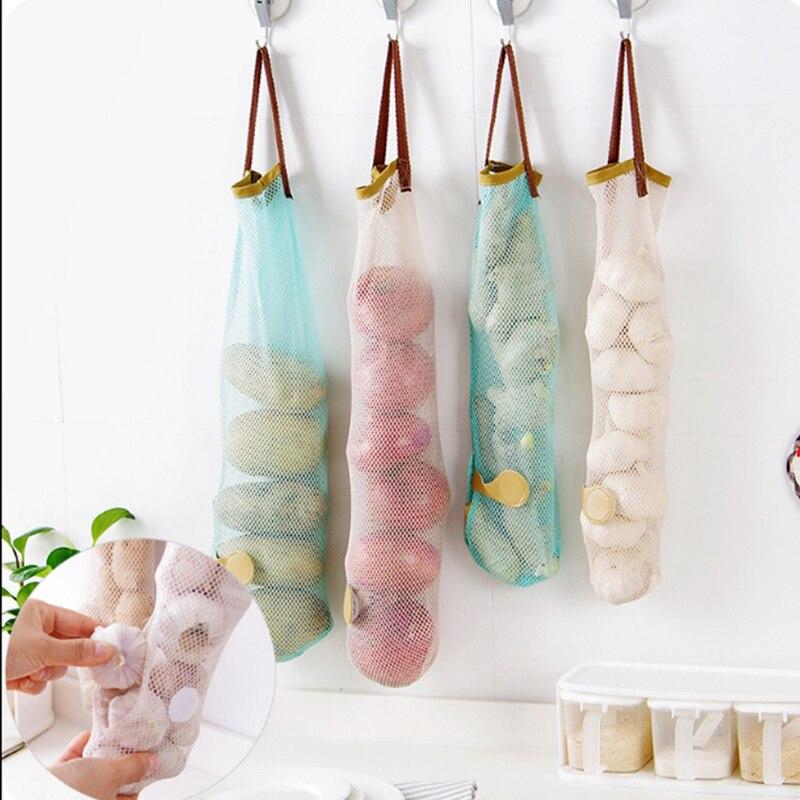 3 Pcs/Set Reusable Mesh Woven Bag Fruit Vegetable Hanging Storage Pocket Hollow Breathable Organizer Kitchen Accessories