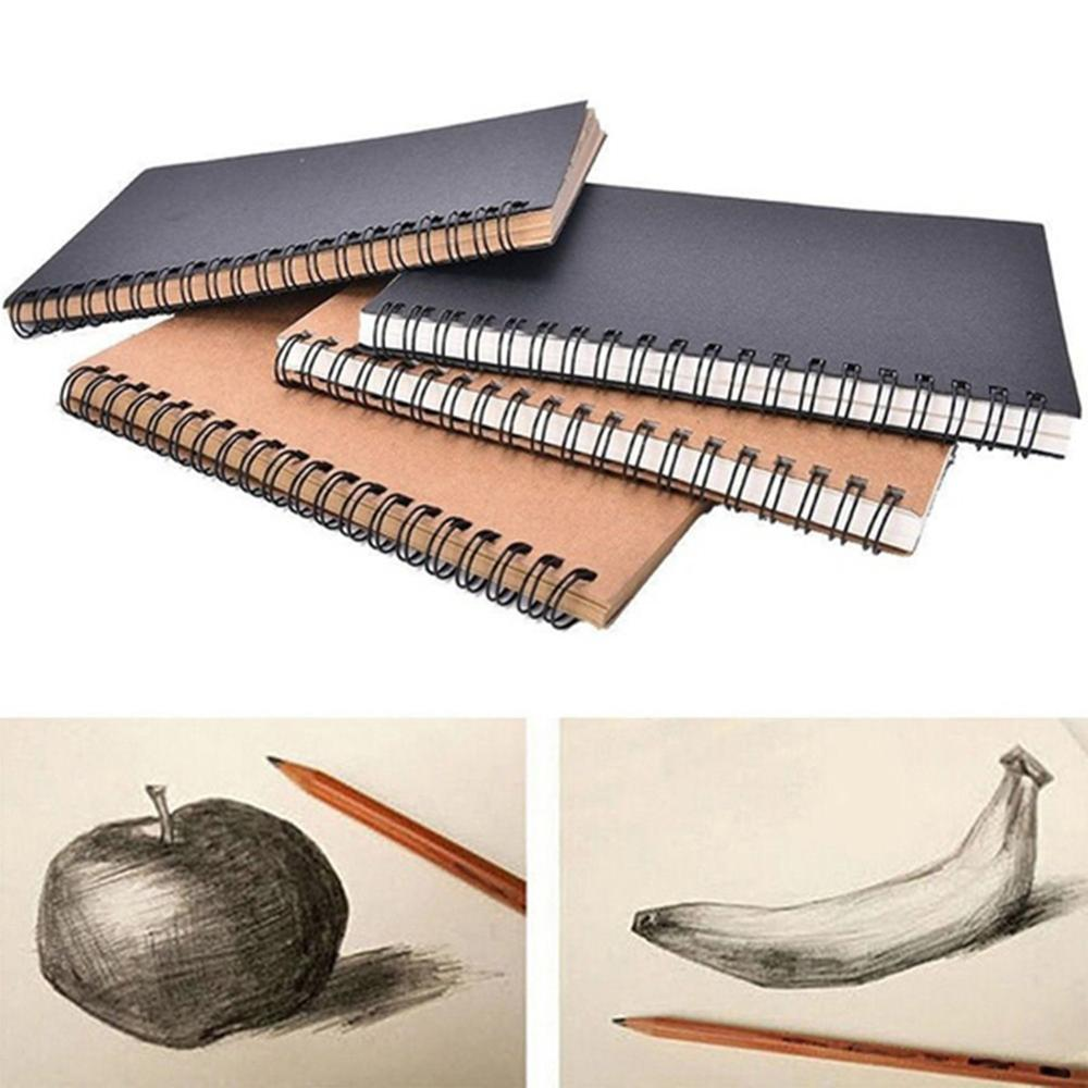 Retro Spiral Bound Coil Sketch Book Blank Paper Art Graffiti Notebook Stationery