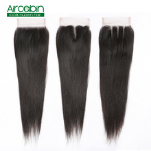 4x4 Brazilian Lace Closure Straight Human Remy Hair Free/Middle/Three Part 8-20 Natural Color Free Shipping Aircabin