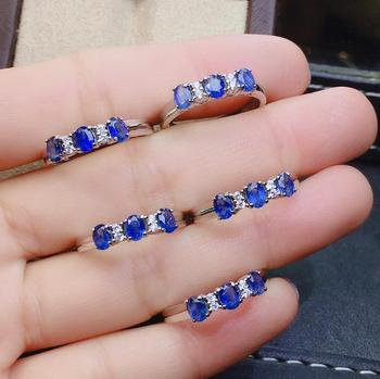 shilovem 925 silver sterling real natural sapphire Rings fine Jewelry wedding bands new  gift open ring 3*4mm  jcj0304922agl