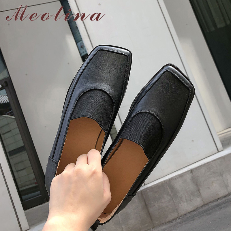 Meotina Real Leather Flats Women Shoes