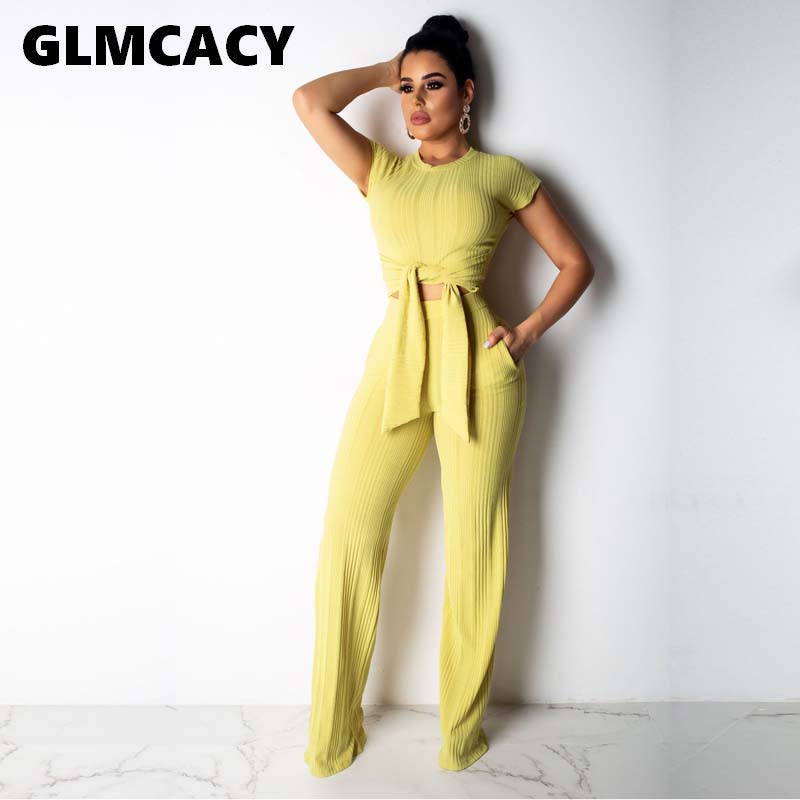 Women Two Piece Outfits Women O-Neck Short Sleeve Solid Summer T-shirt Casual Elastic Waist Ankle-Length Long Pants
