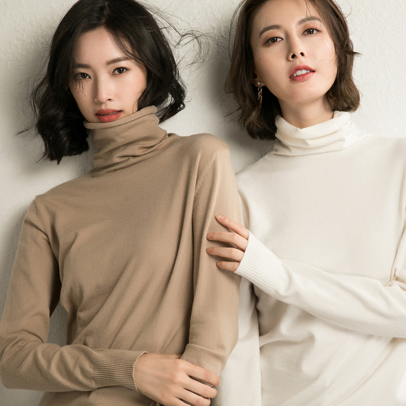 2019 Women Sweater Femme Autumn Turtleneck Sweater Long Sleeve Women White Sweater Jumper Pullovers Tricot Pull Femme