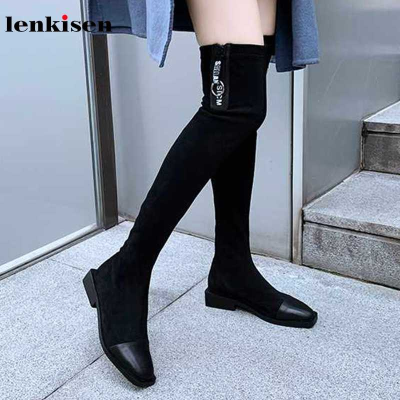 Lenkisen hot Internet star cow leather stretch boots square toe med heels winter keep warm women zipper over-the-knee boots L71