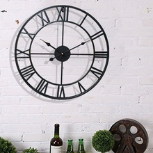 Reloj Retro europeo Vintage Reloj de pared decorativo de acero inoxidable reloj de cubertería para sala de estar dormitorio decoración colgante para el hogar