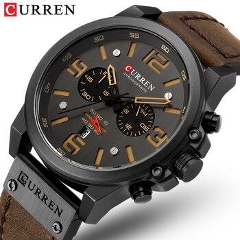 CURREN 8314 New Mens Watches Men Military Sport Wristwatch Leather Quartz Watch