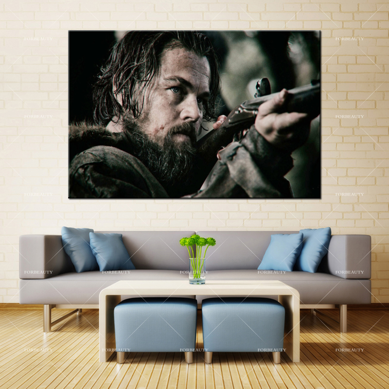 Forbeauty Canvas Oil <font><b>Painting</b></font> Wall Art the_revenant_<font><b>leonardo</b></font>_<font><b>dicaprio</b></font>_hugh_glass Spray Printing Waterproof Ink Home Decor image