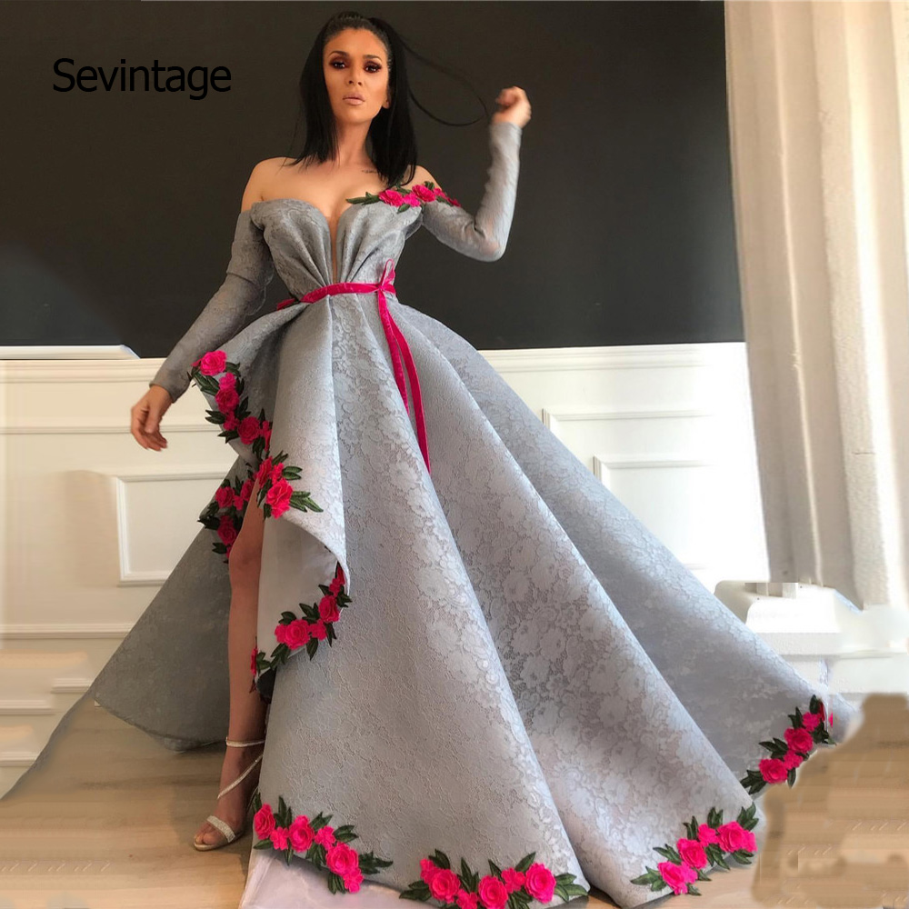 Sevintage Asymmetrical Arabic Dubai Lace Prom Dresses Flowers Long Sleeves Evening Dress Formal Party Gowns Vestido Formatura