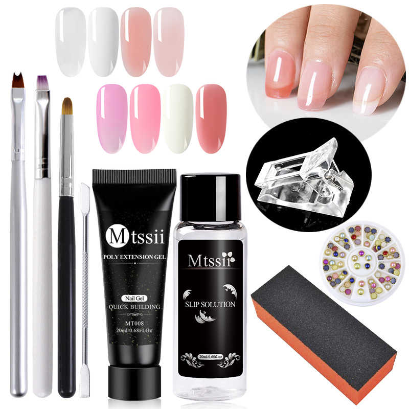 Mtssii Nail Acryl Poly Nail Extension Gel Set Roze Wit Clear Crystal Uv Led Builder Nail Gel Anti Oplossing Quick extension