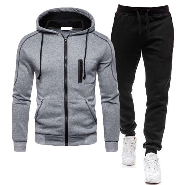 2 Pieces Sets Tracksuit Men Autumn Zipper Hoodie Sweatshirt+pants Solid Sporting Fitness Hooded Outerwear Jacket Joggers Suit 5