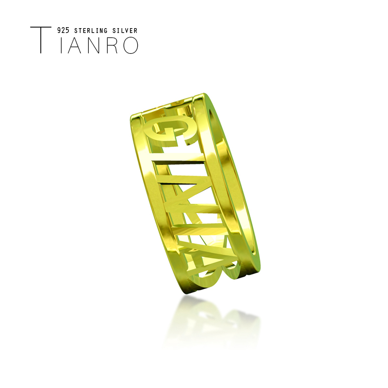 TIANRO popular English name custom ring 925 sterling silver three-dimensional personality simple gold ring name custom jewelry