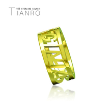 TIANRO popular English name custom ring 925 sterling silver three-dimensional personality simple gold jewelry
