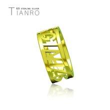 TIANRO популярные английские названия пользовательских кольцо стерлингового серебра 925 трехмерные личности простой золото ювелирные изделия