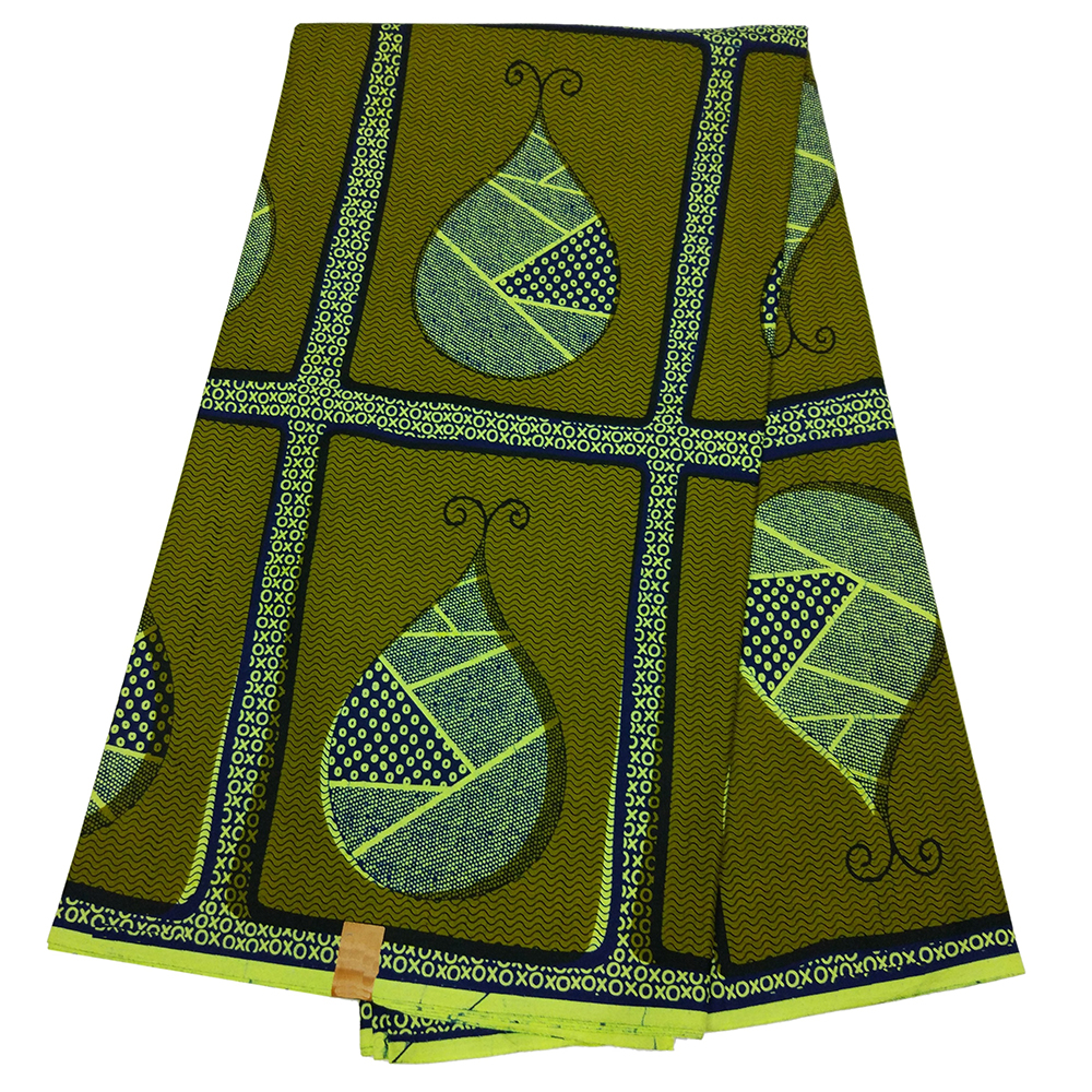 African Print Fabric High Quality Sewing Material 100% Cotton Real Dutch Wax Green Fabric 6yards For Party Dress
