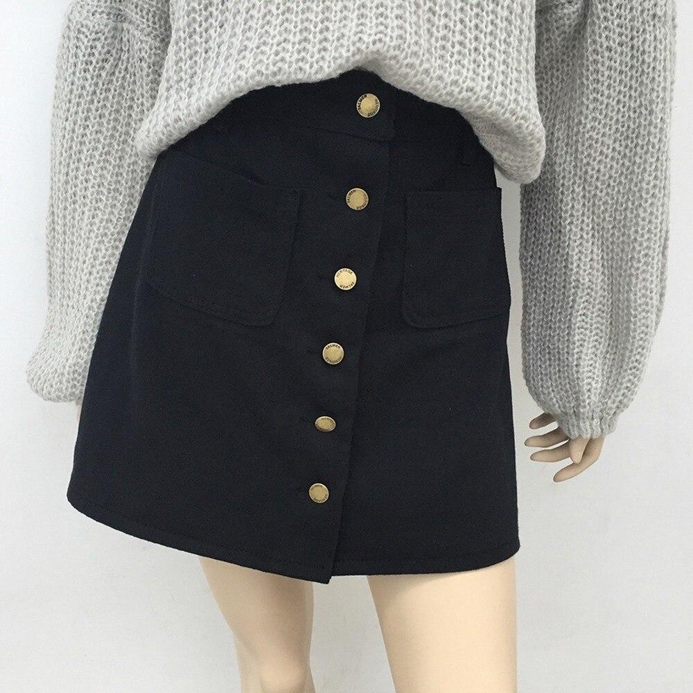 Юбка женская джинсовая трапециевидная на одной пуговице, с высокой талией и карманами