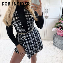 For Insider Tweed plaid fringe tassel skirt shorts Women casual skinny high waist shorts Autumn zipper asymmetrical overalls недорого