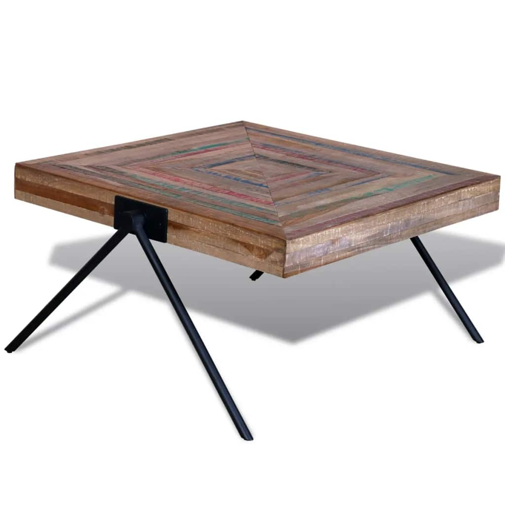 VidaXL Coffee Table With V-shaped Legs Reclaimed Teak Wood
