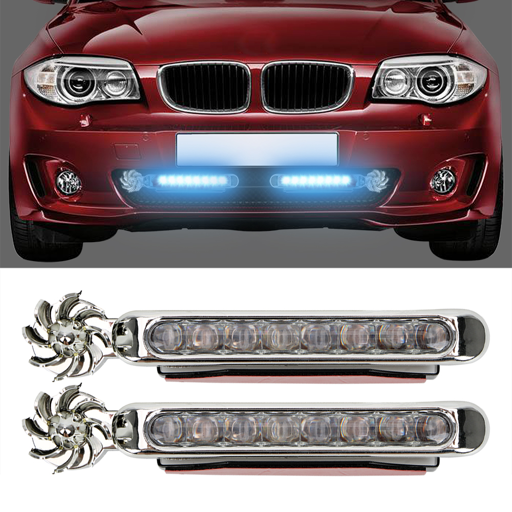 1 Pair LED Wind Powered Car Daytime Running Light Vehicle Lights With Rotation Fan No Need External Power Supply  Car Lamp