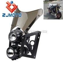 Farol duplo para motocicleta, tela de vento de plástico abs, farol duplo para esportes, motocicleta, streetfighter