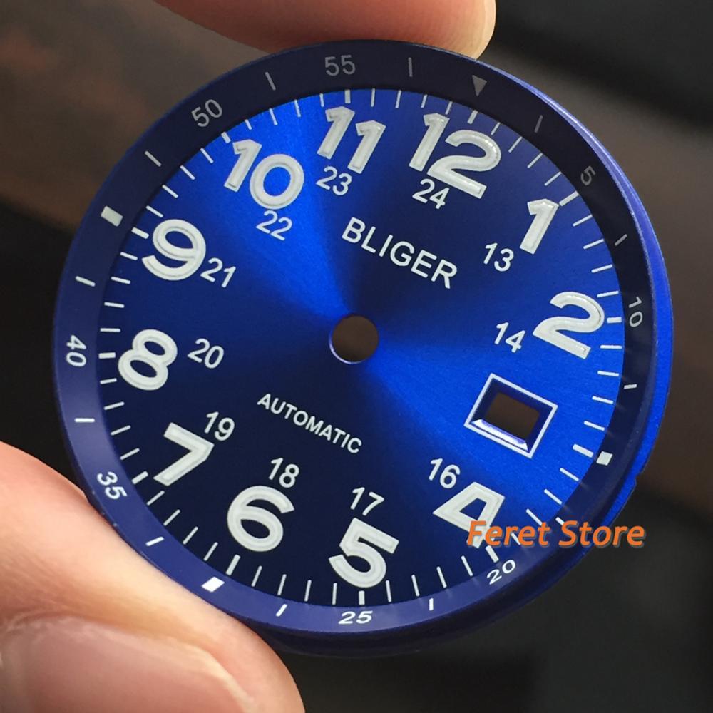 New  Bliger Top Luxury 33mm Blue Luminous Dial Date Window Markings Fit 2824 2836 Miyota 8215 8205 821A Movement Men Watch