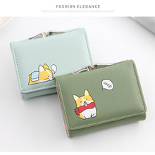 2019 Cartoon Leather Women Purse Pocket Ladies Clutch Wallet Women Short Card Holder Cute Girls Small Dog Wallet Cartera Mujer C