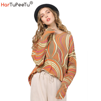Autumn Sweater Women Plus Size Pullover Knit Sweater Abstract Geometric Print Jumper Tops Batwing Long Sleeve Loose Homewear plus size long sleeve ribbed jumper casual knit dress