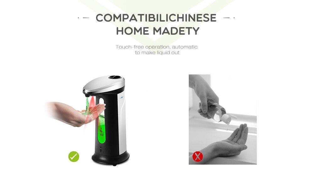H5d990aaf18b24d639b994bfc2d505816o Liquid Soap Dispenser 400Ml Automatic Smart Sensor Touchless ABS Electroplated Sanitizer Dispensador Bottle for Kitchen Bathroom