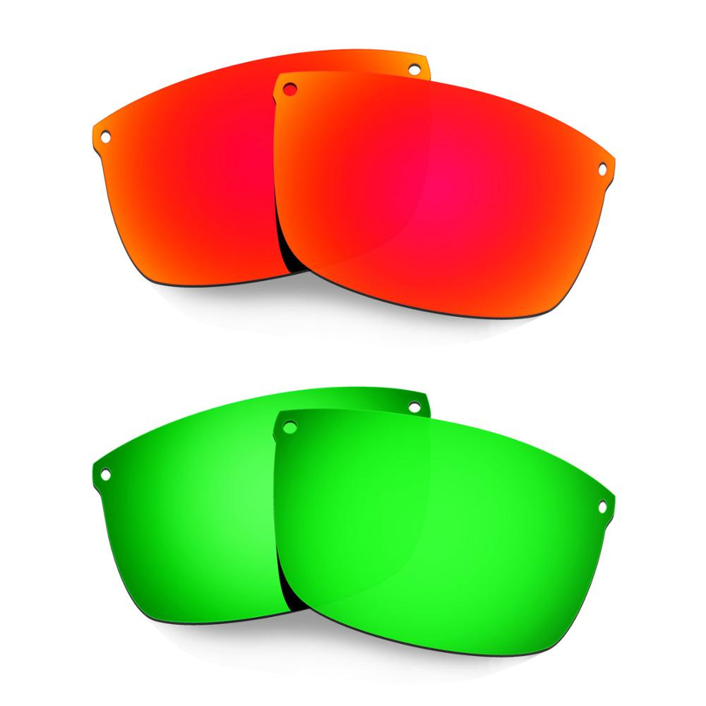 HKUCO For Carbon Blade Sunglasses Polarized Replacement Lenses 2 Pairs Red & Green