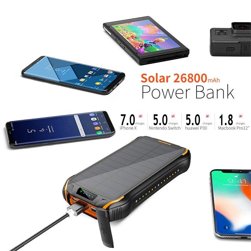 26800 мАч Солнечный внешний аккумулятор, беспроводной водонепроницаемый внешний аккумулятор, портативное зарядное устройство, светодиодный ...