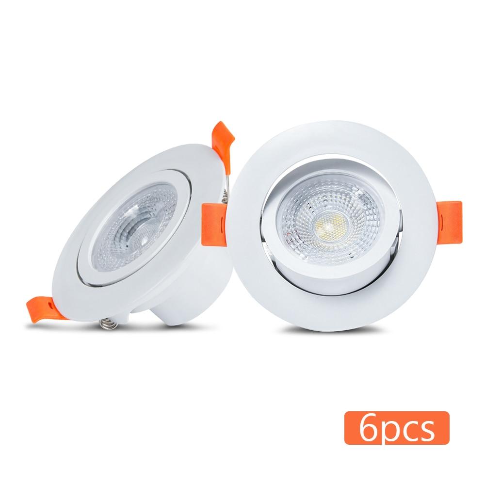 6 sztuk/partia LED Downlight 6W Spot wpuszczany sufit Downlight AC220V 240V Home Decor dół światła Spot Led lampa