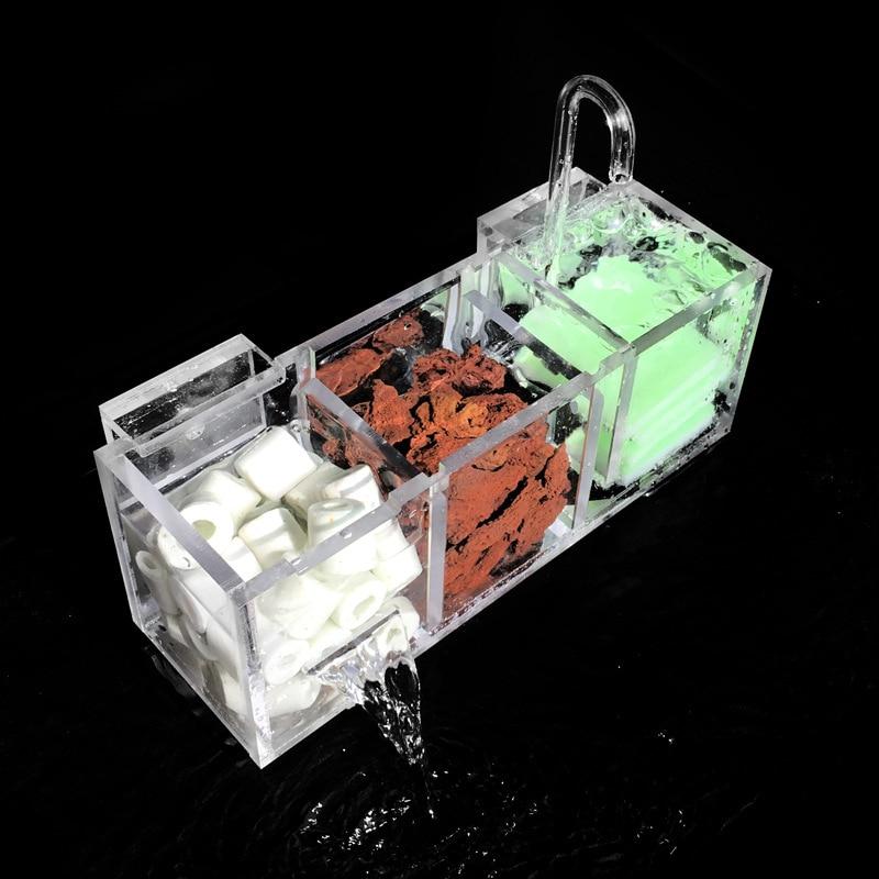 Aquarium External Filter Box Fish Tank Filter Box without Water Pump Increase Oxygen Water Filter Mutifunctional Acrylic FA016
