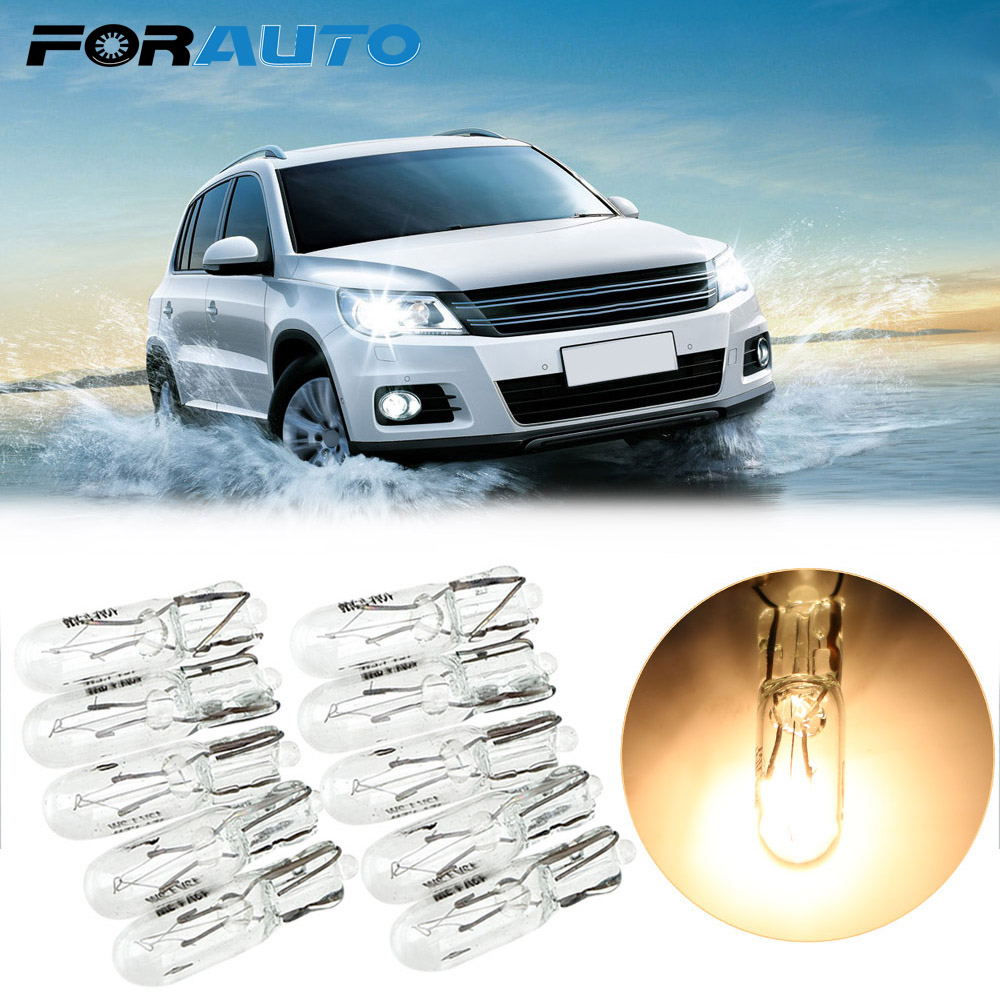 FORAUTO 10pcs <font><b>T5</b></font> 286 Halogen Bulb Side Wedges Lights Car Instrument Lamp Warm White Color Light Source <font><b>1.2W</b></font> <font><b>12V</b></font> Auto Lamps image
