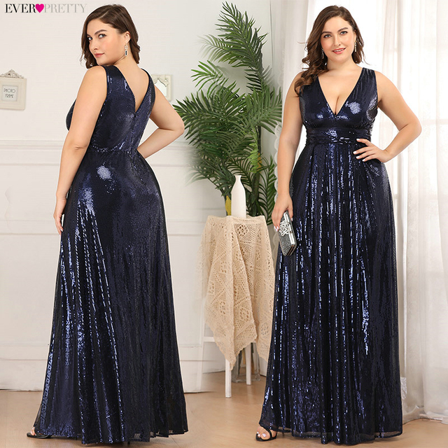 Plus Size Sequined Evening Dresses Ever Pretty EP00825 A-Line Deep V-Neck Sleeveless Sexy Sparkle Long Party Gowns Robe Longue 1