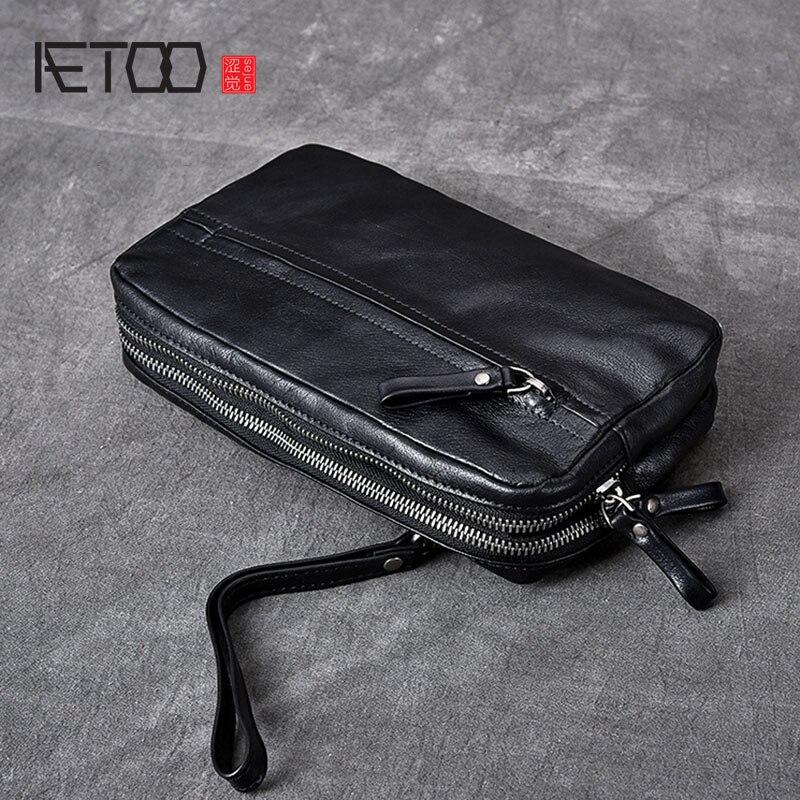 BJYL Rétro tendance hommes en cuir première couche sac à main multicouche en cuir sac à main d'embrayage sac à main sac pour hommes
