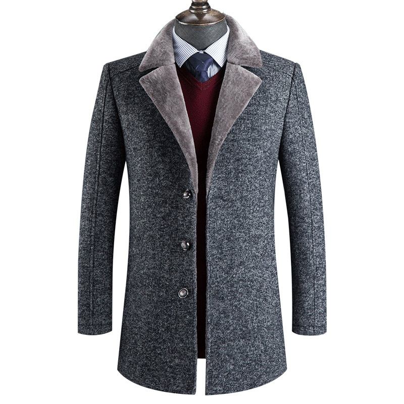 Sobretudo Masculino 2020 New Winter High Quality Wool Thicked Trench Men Coat Male Gray Wool Jackets Plus Size Abrigo Hombre