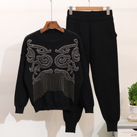 Casual Pants Suits 2020 Autumn Winter Women Luxury Beaded Tassel Long sleeved Sweater Sets Chic Knit Tracksuits Two Piece Sets