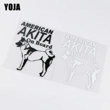 Yoja 12x15.1 cm akita americano a bordo adesivo de carro cão animal padrão vinil decalque ZT2-0122