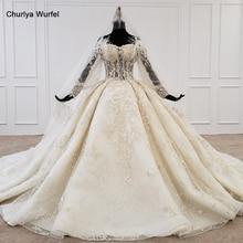 فستان زفاف HTL1168 2020 دانتيل على الكتف مزين بالخرز كريستال بيرل بأربطة بوهيمية