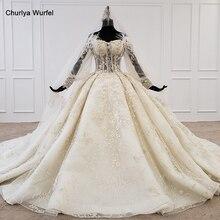 Htl1168 vestido de casamento 2020 laço fora do ombro applique beading cristal pérola rendas até boêmio robe mariage boheme