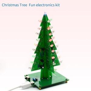 Image 2 - UNISIAN Colorful 3D Christmas Tree DIY Kit with Acrylic Shell Christmas Gift Electronic Fun DIY Suite Flash LED interesting Kit