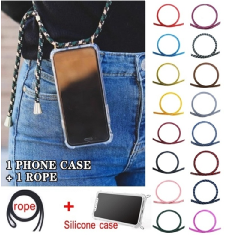 Strap Cord Chain Telefoon Tape Ketting Lanyard Mobiele Telefoon Case voor Carry Cover Case te Hangen Voor iPhone XS Max XR X 7Plus 8Plus