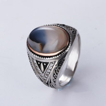 Natural Onyx Oval Stone 100% Real 925 Sterling Silver Mens Rings Vintage Arabic Style Oxide Silver 925 Gents Signet Rings Gifts(China)