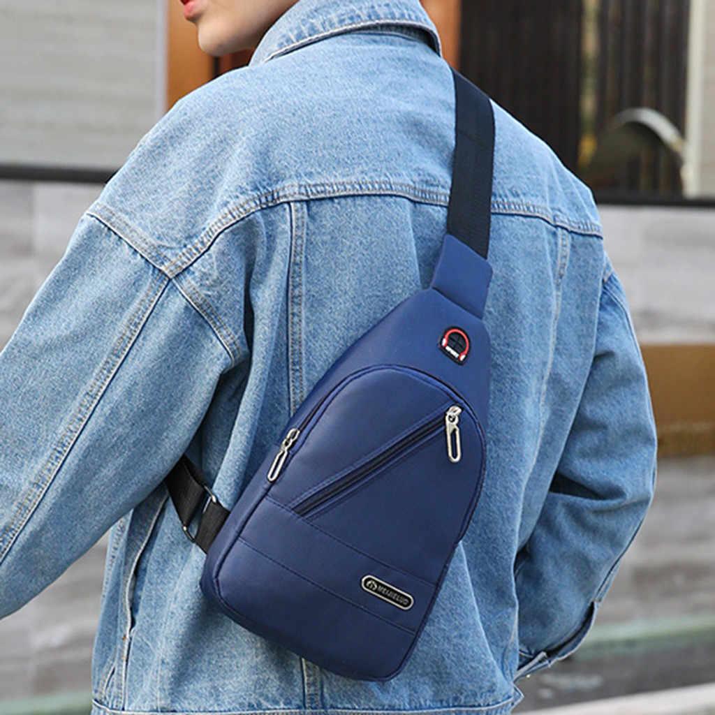 Fashion Pria Tas Bahu Sling Dada Pack Kanvas USB Pengisian Kasual Crossbody Tas Tangan untuk Pria Tas Dada Sabuk Pinggang pack # LR2