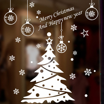 Christmas tree decoration glass windows Wall Sticker Decals festival Home happy New Year Stickers wallpaper