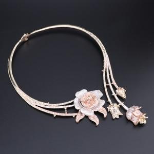 Image 3 - Nigeria Classic Jewelry Sets Elegant Bride Wedding Flower Shape Necklace Earrings Bracelet Ring Set for Dubai Women