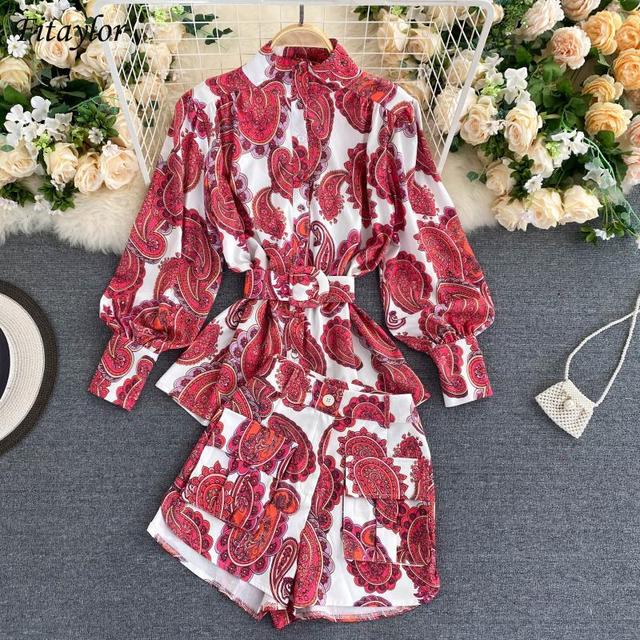 Fitaylor Spring New Women Retro Print Shirt Wide Leg Short Suit Lady Vintage Floral Lantern Sleeve Sashes Two Piece Sets 1